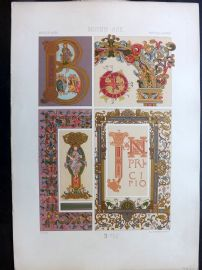 Racinet L'Ornament Polychrome 1873 Design Print. Middle Ages 45